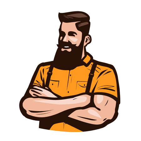 Happy hipster with arms crossed on chest. Cartoon vector illustration