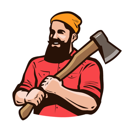 Lumberjack, axeman with axe in hands. Carpentry, woodworker, sawmill concept. Cartoon vector illustration
