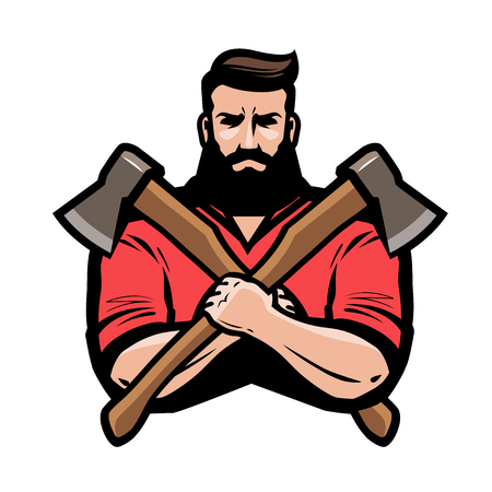 Sawmill, joinery, carpentry logo or label. Lumberjack holds crossed axes in hands. Cartoon vector illustration