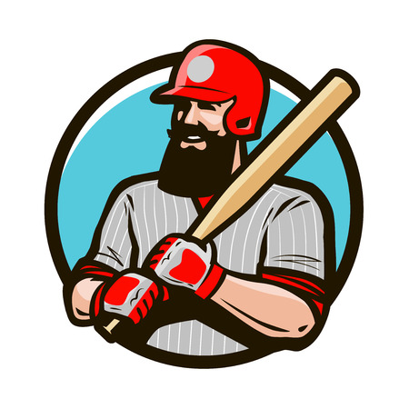 Baseball player in helmet holding baseball bat. Sport logo or label. Mascot vector illustration