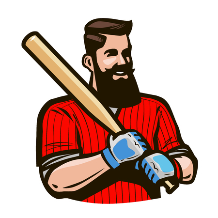 Baseball player holding baseball bat. Sport concept. Cartoon vector illustration