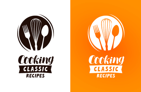 Cooking logo or label. Food concept, vector illustration
