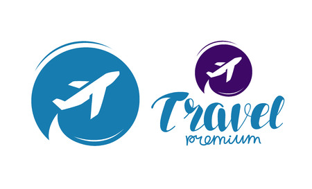 Travel logo or label. Journey, tour, voyage symbol Vector Illustration
