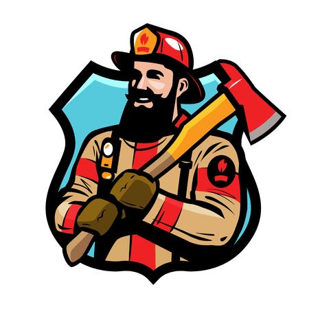 Fire department logo or label. Firefighter, fireman in helmet holds an ax in his hands. Cartoon vector