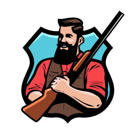 Hunter holds shotgun in his hands. Gun shop, hunting, hunt concept. Cartoon vector illustration Ilustrace