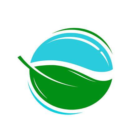 Environmentally friendly product logo or icon. Water, fresh, eco symbol. Vector illustration Illustration