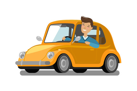 Happy male driver rides car. Driving, trip, taxi concept. Cartoon vector illustration Stock Photo