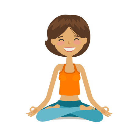 Yoga girl in lotus position. Cartoon vector illustration isolated on white background