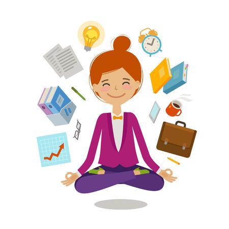 Businesswoman sitting in lotus pose. Business, multitasking concept. Cartoon vector illustration Stock Photo