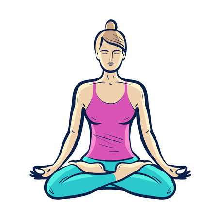 Happy girl sitting in lotus pose. Yoga, fitness concept. Vector illustration Illustration