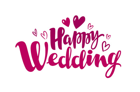 Happy wedding, lettering. Marriage, marry concept in Handwritten inscription, calligraphy.