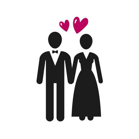 Wedding, marriage  label. Newlyweds, bride and groom icon