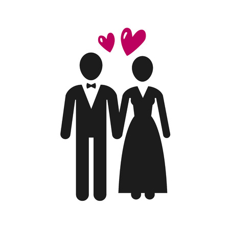 Wedding, marriage icon or label. Newlyweds, bride and groom icon. Vector illustration