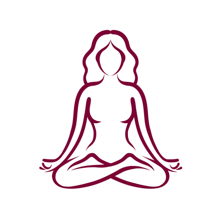 Yoga, beauty, health logo or symbol. Abstract girl sitting in lotus pose. Vector illustration Illustration