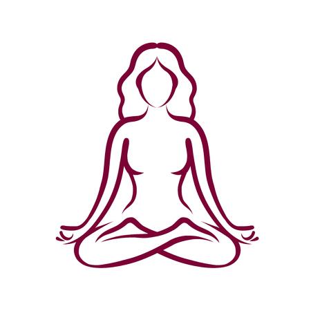 Yoga, beauty, health logo or symbol. Abstract girl sitting in lotus pose. Vector illustration Illustration