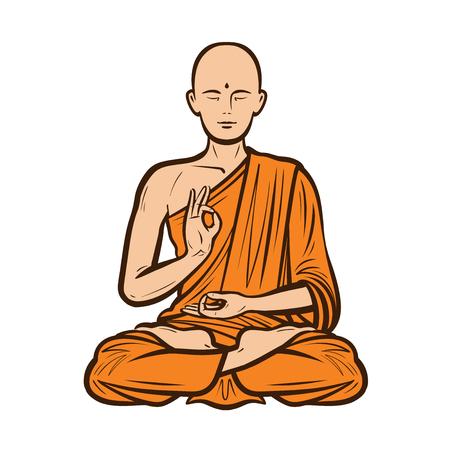 Buddhist in orange robe cartoon vector illustration.