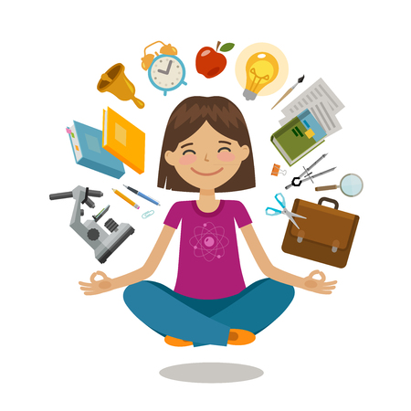 School, college concept. Funny student sitting in lotus pose. Vector illustration Vectores