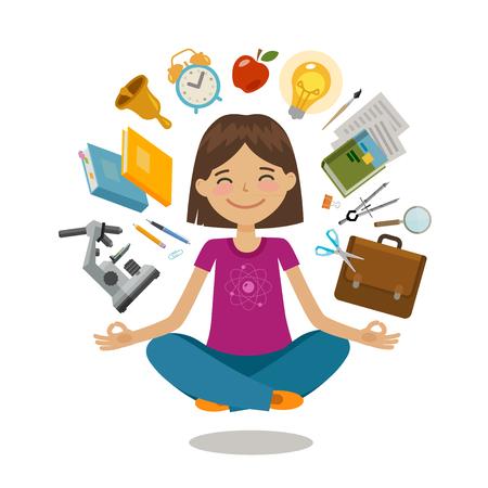 School, college concept. Funny student sitting in lotus pose. Vector illustration Stock Illustratie