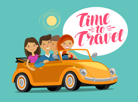 Happy friends go on journey to retro car. Travel concept. Funny cartoon vector illustration