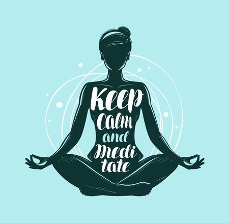 Yoga, meditation concept. Girl sitting in lotus pose. Lettering vector illustration Stock Illustratie