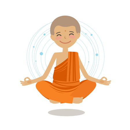 Funny buddhist monk sits in lotus position. Buddhism, yoga concept. Cartoon vector illustration