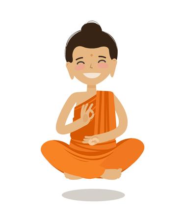 Happy Buddha sitting in lotus pose.