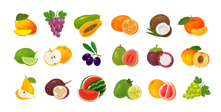 Fruits and berries, set of colored icons. Food concept. Vector illustration Illustration