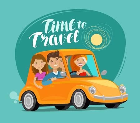 Tijd om te reizen, concept. Gelukkige vrienden rijden retro auto op reis. Grappige cartoon vectorillustratie