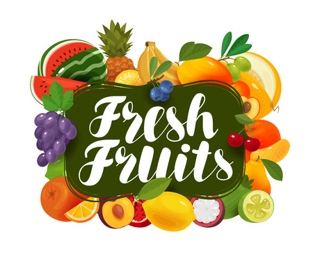 Fresh fruits. Natural food, greengrocery concept. Vector illustration Çizim