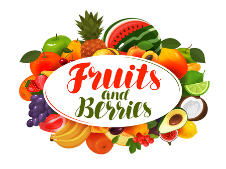 Fresh fruits. Natural food, greengrocery concept Vector illustration