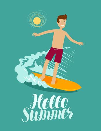 Hello summer, banner. Surfer and wave. Surfing vector illustration Illustration