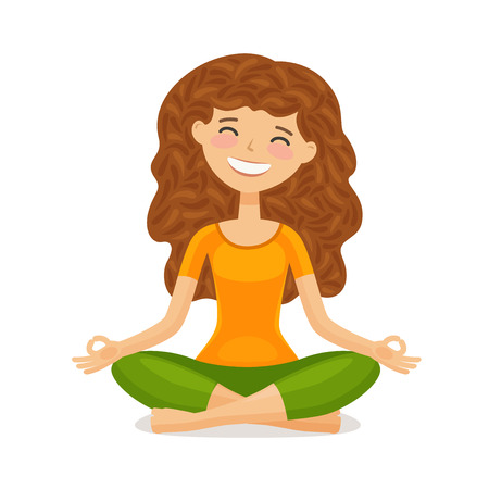 Cute girl doing yoga. Relaxation, meditation concept. Funny cartoon vector illustration