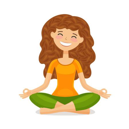 Cute girl doing yoga. Relaxation, meditation concept. Funny cartoon vector illustration