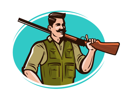 Hunter with gun on his shoulder. Hunting cartoon vector illustration