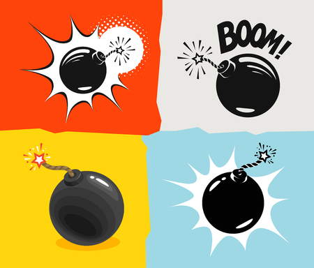 Bomb ready to explode. Comic cartoon vector illustration 向量圖像