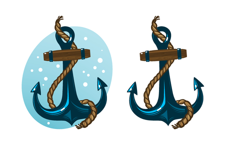 Nautical anchor with rope. Cartoon vector illustration