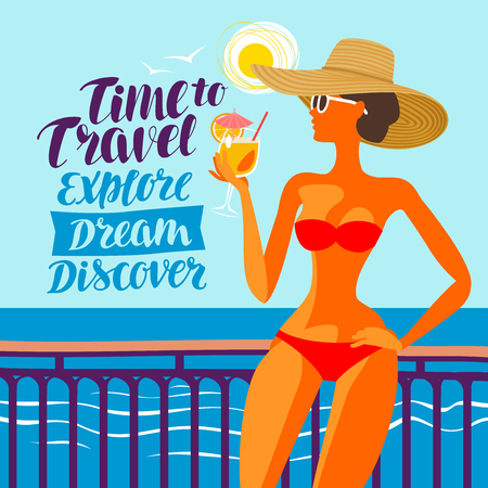 Beautiful girl resting on beach, vector illustration. Travel, voyage concept