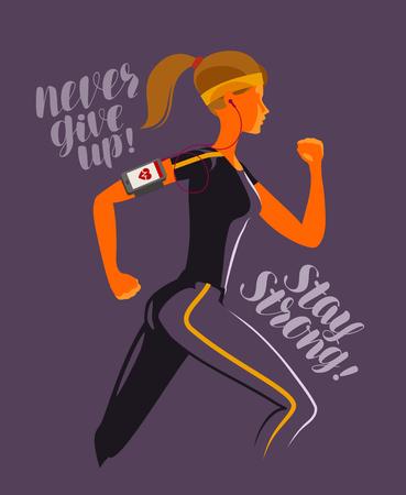 Running girl. Fitness, jogging, gym concept. Vector illustration