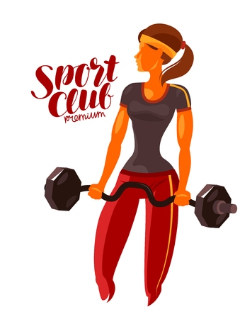 Girl or young woman holding a heavy barbell in hands. Fitness, gym, bodybuilding vector illustration