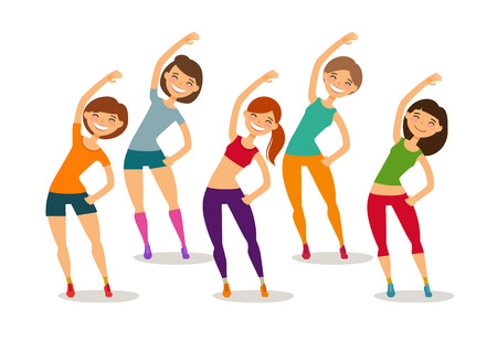 Sport, aerobics, healthy lifestyle concept. Group of people engaged fitness in gym. Funny cartoon vector illustration Illustration
