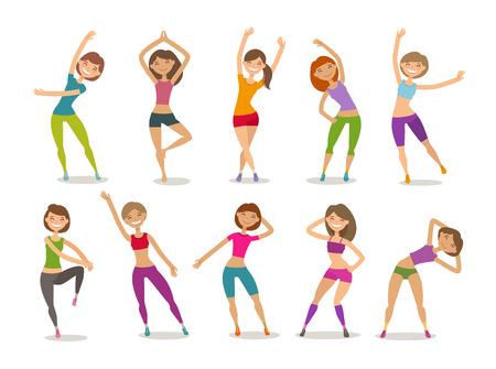 Mädchen oder junge Frau engagierte Fitness im Fitnessstudio. Sport, Aerobic, gesundes Lifestyle-Konzept. Lustige Karikaturvektorillustration Vektorgrafik