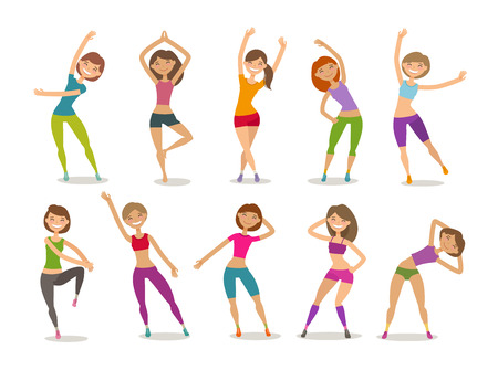 Girl or young woman engaged fitness in gym. Sport, aerobics, healthy lifestyle concept. Funny cartoon vector illustration