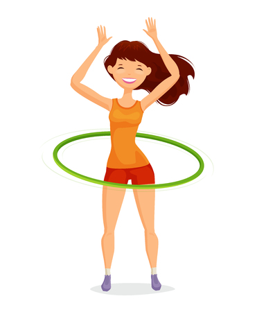 Sport girl turns the hoop. Fitness, healthy lifestyle concept. Funny cartoon vector illustration