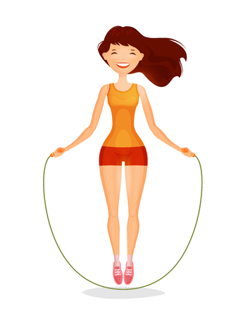 Happy girl with skipping rope. Fitness, sports concept. Cartoon vector illustration
