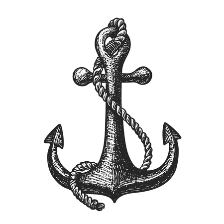 Hand-drawn ship anchor and rope. Vintage sketch vector illustration