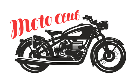Motorcycle, motorbike silhouette. Moto club icon or label. Vector illustration