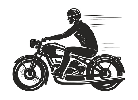 Biker rides a retro motorcycle, silhouette. Motorsport, motorbike concept. Vector illustration