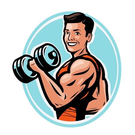 strong athletic man raises heavy dumbbells with his hands. gym,body-building concept.