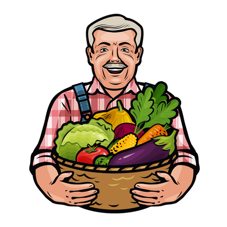Happy farmer holding a wicker basket full of fresh vegetables. Farm, agriculture, horticulture concept. Cartoon vector illustration