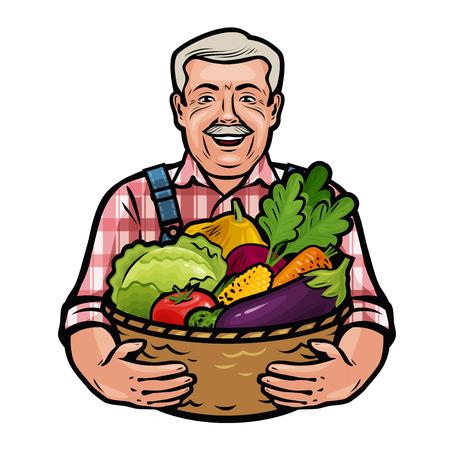 Gelukkig boer met een rieten mand vol verse groenten. Boerderij, landbouw, tuinbouw concept. Cartoon vector illustratie